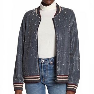 Dolce Cabo S Small Gray Sequined Bomber Jacket